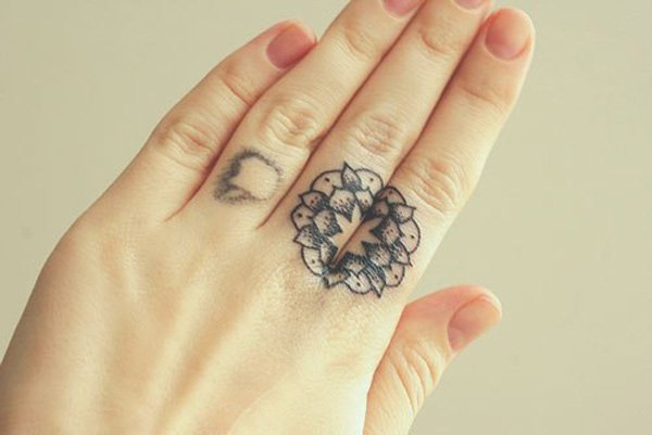 Trending Mandala Tattoo On Finger With Black Ink For Man And Woman