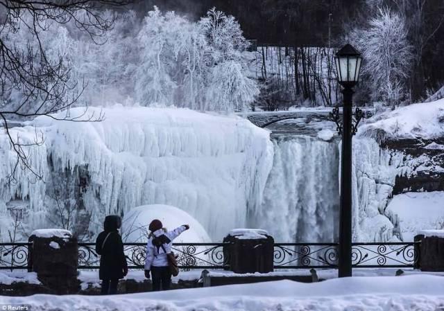 Two Women See Great Frozen Niagara Falls