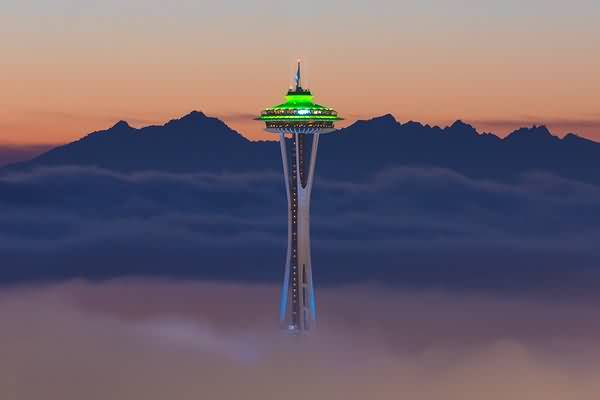 Unique Space Needle With Seattle City Light View For Wallpaper