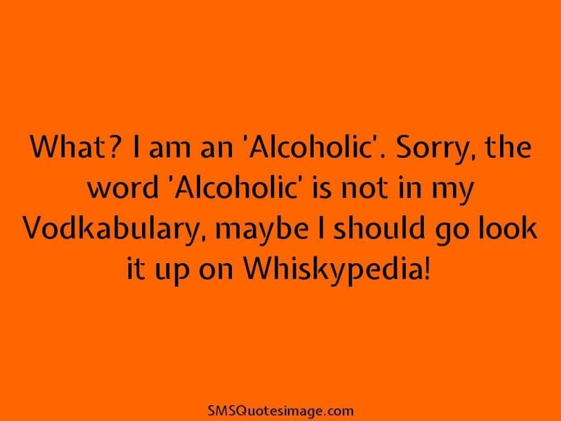 What. I am an 'Alcoholic'. Sorry, the word 'Alcoholic' is not in my vodkabulary, maybe i should go look it up on whiskypedia.