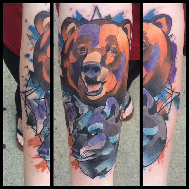 Wonderful Bear Face Watercolor Tattoo Design For Men Arm