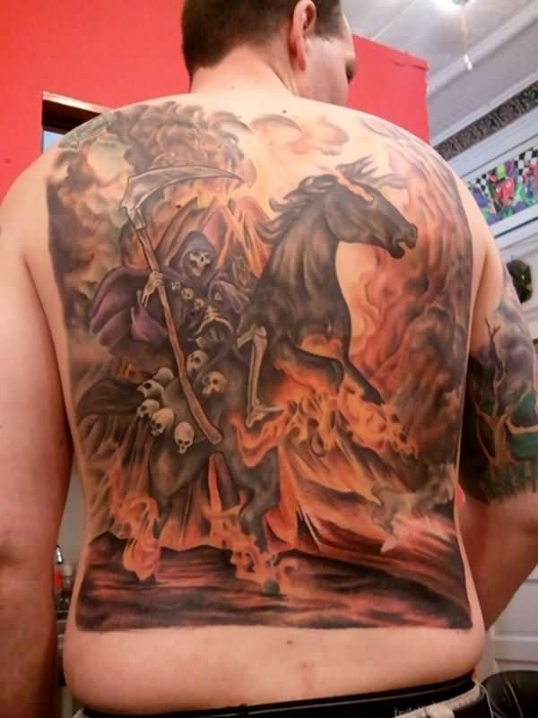 Wonderful Grim Reaper On Horse Tattoo Made On Men Back