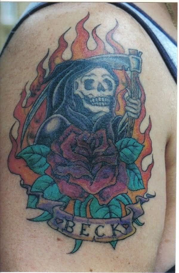 Wonderful Scary Grim Reaper With Banner Tattoo For Men Shoulder