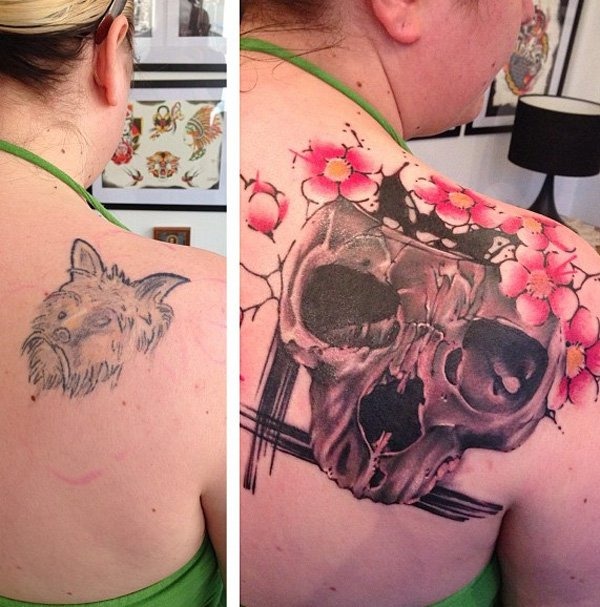Wonderful Skull With Cherry Blossoms Cover Up Tattoo With Colourful Ink For Man And Woman