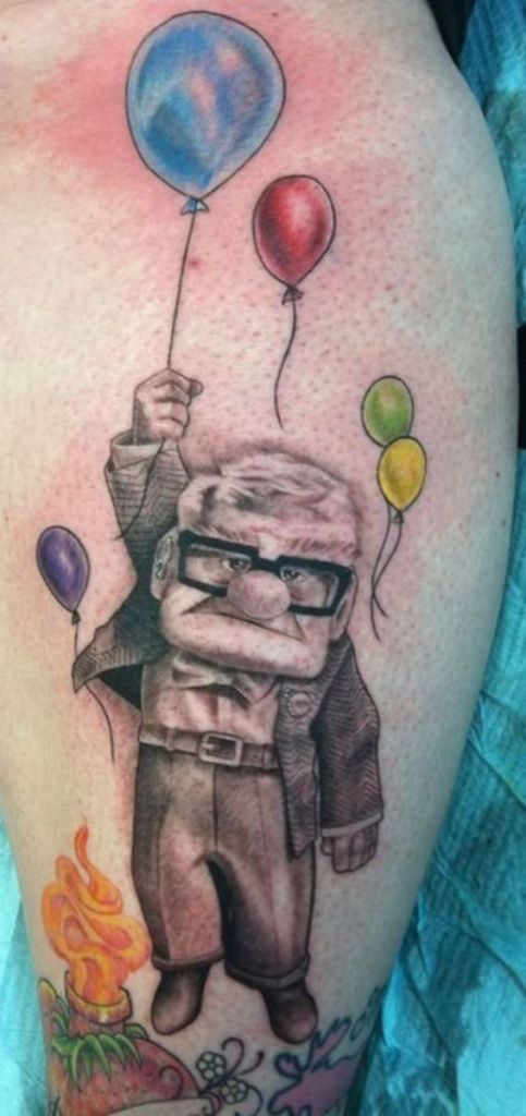 Wonderful Up Disney Movie Animated Tattoo Deisgn For Men Calf Or Leg