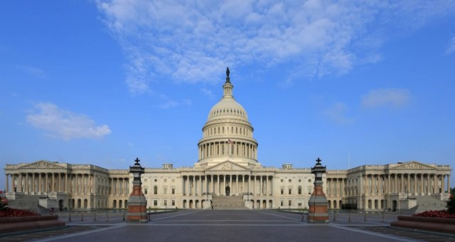 Adorable East Side View Of The United States Capitol With Sky Background