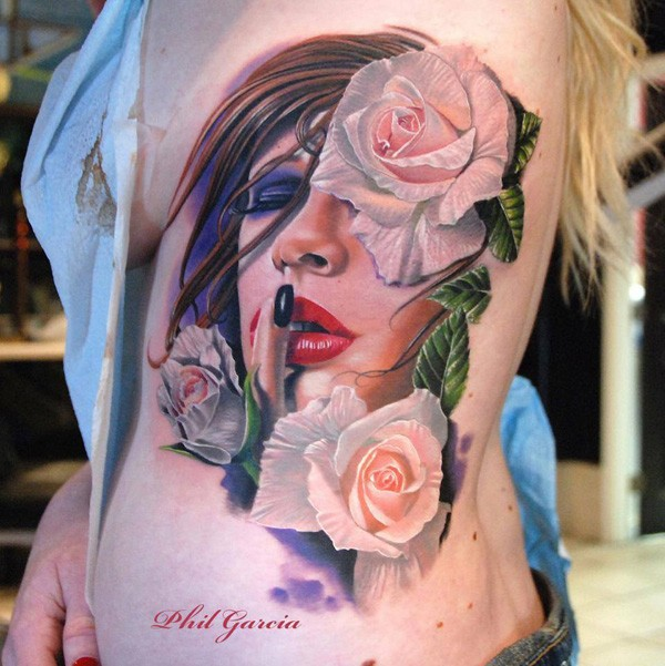 Amazing 3d Portrait And Rose Colorful Tattoo With Colorful Ink For Man Woman