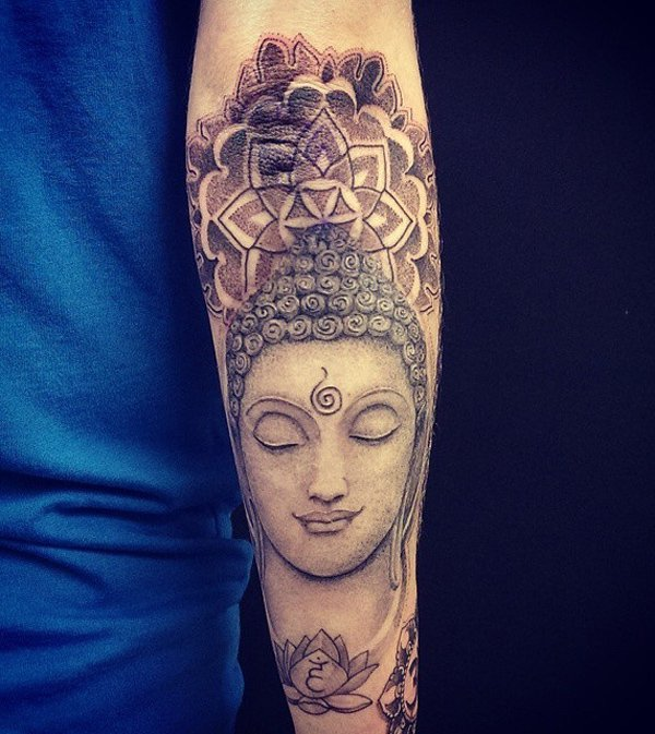 Amazing Buddha And Mandela Tattoo With Black Ink For Man Woman