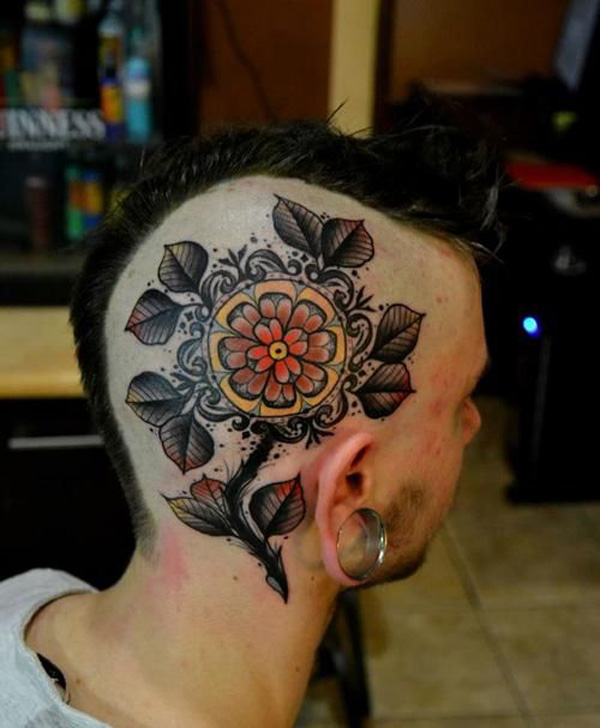 amazing Flower tattoo on the head With Black & red ink For Man And Woman