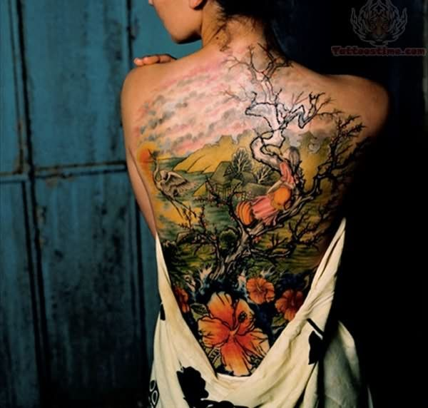 amazing Hibiscus tattoo on back With colourful ink For Man And Woman (2)