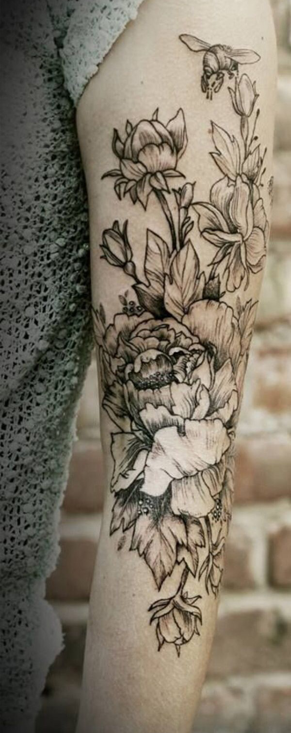 amazing Peony tattoo on sleeve on arm With Black ink For Man And Woman