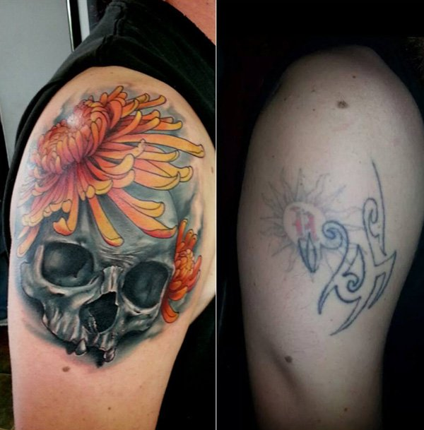 Amazing Skull With Chrysanthemum Cover Up Tattoo With Colourful Ink For Man And Woman