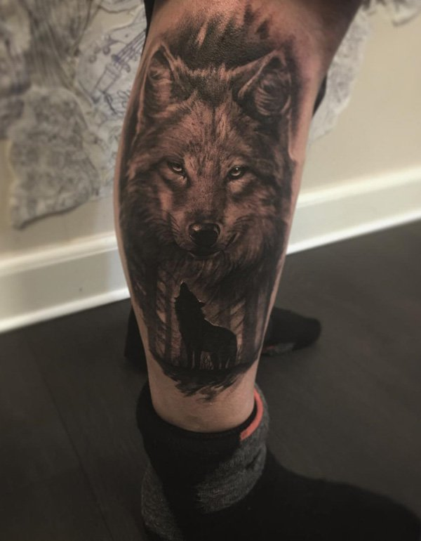 Amazing Wolf Calf Tattoo With Black Ink For Man Woman