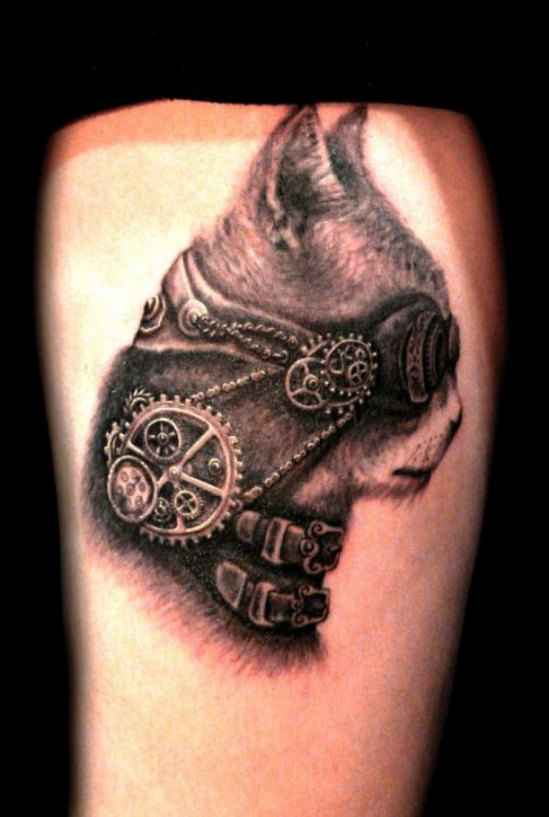 Amazing Badass Steampunk On Wrist With Blck Ink For Man And Woman