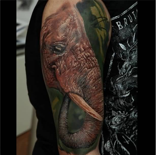 Amazing Red And Gray Color Ink Tattoo Of Old African Elephant For Man