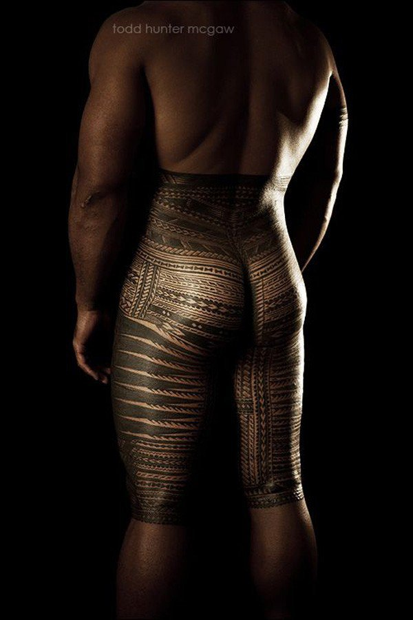 Attracive Samoan Tatau Back View With Black Ink For Man Woman