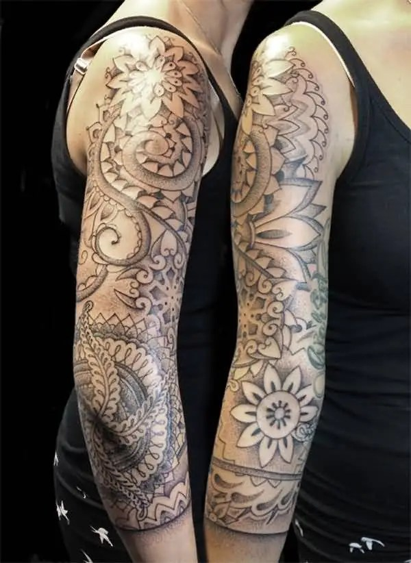 Attractive Mandala Sleeve Tattoo With Black Ink For Couple