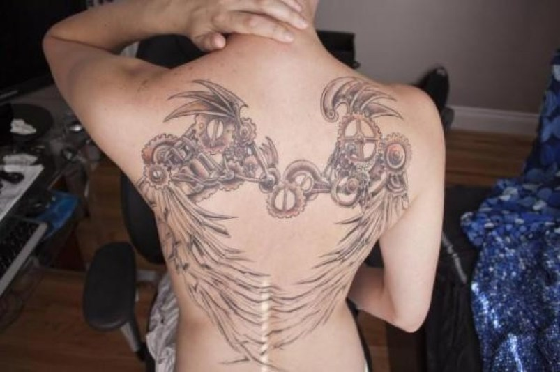 Attractive Steampunk Wings On Back With Black Ink For Man And Woman