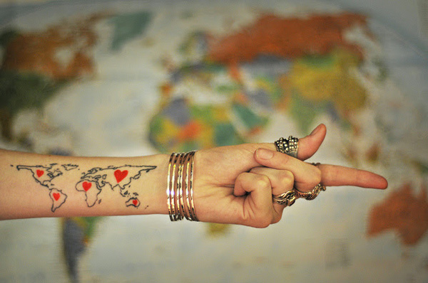Attractive World Map Tatto On Wrist Map Tattoo With Black Ink For Man Woman World Map Tattoo