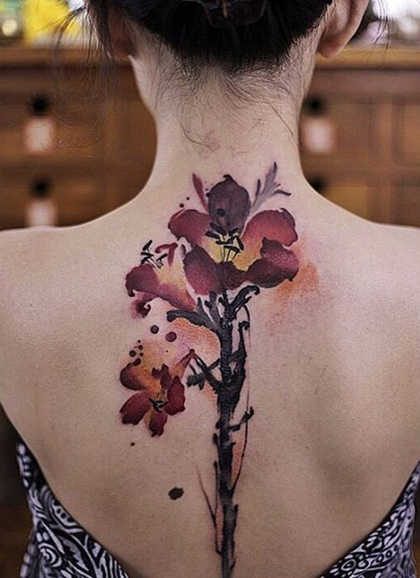 Awesome Flower Spine Tattoo With Colourful Ink For Woman