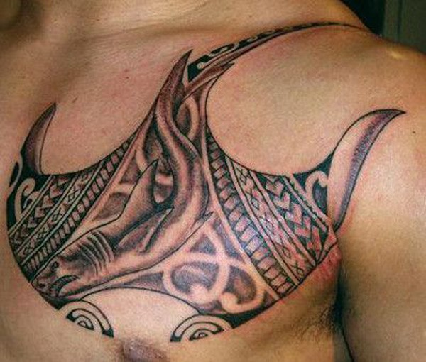 Awesome Manta Ray Tattoo On Chest With Black Ink For Man And Woman
