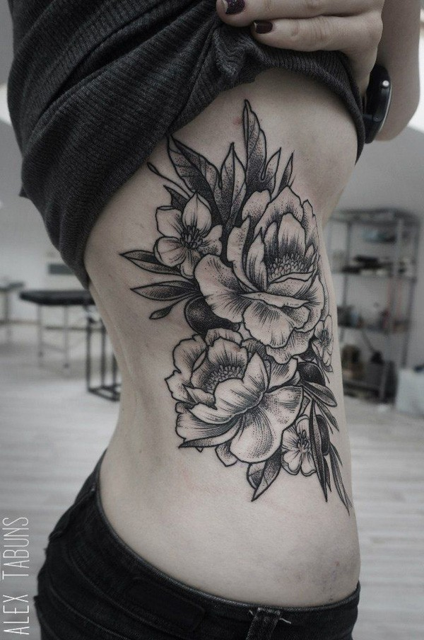 awesome Peony tattoo on side With Black ink For Man And Woman