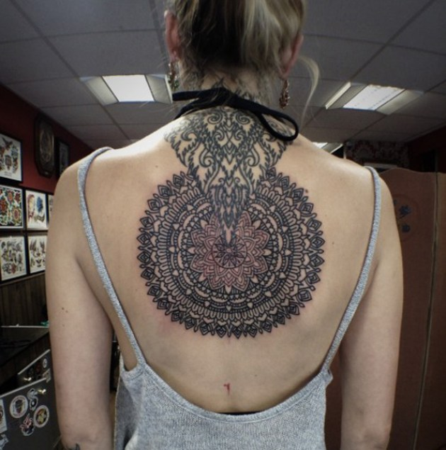 Awesome Pattern Tattoo On Back With Black Ink For Man Woman