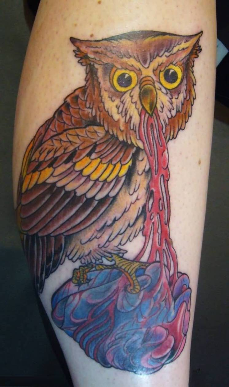 awesome red blue and yellow color ink animated owl tattoo on girl's sleeve for girls only made by expert artist