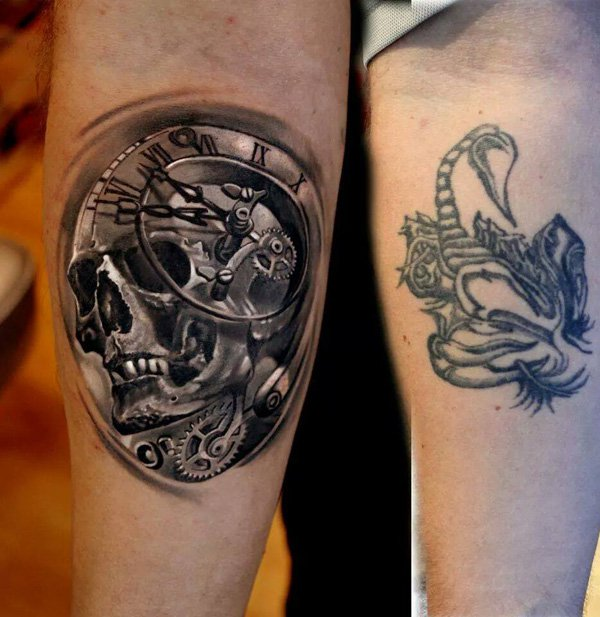 Beautiful 3D Skull With Watch Cover Up Tattoo On Hand With Black Ink For Man And Woman