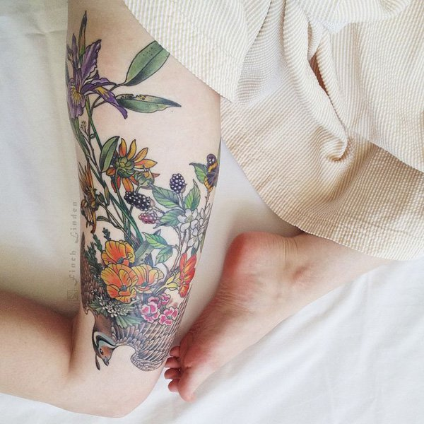 Beautiful Thigh Tattoos For Women With Colourful Ink