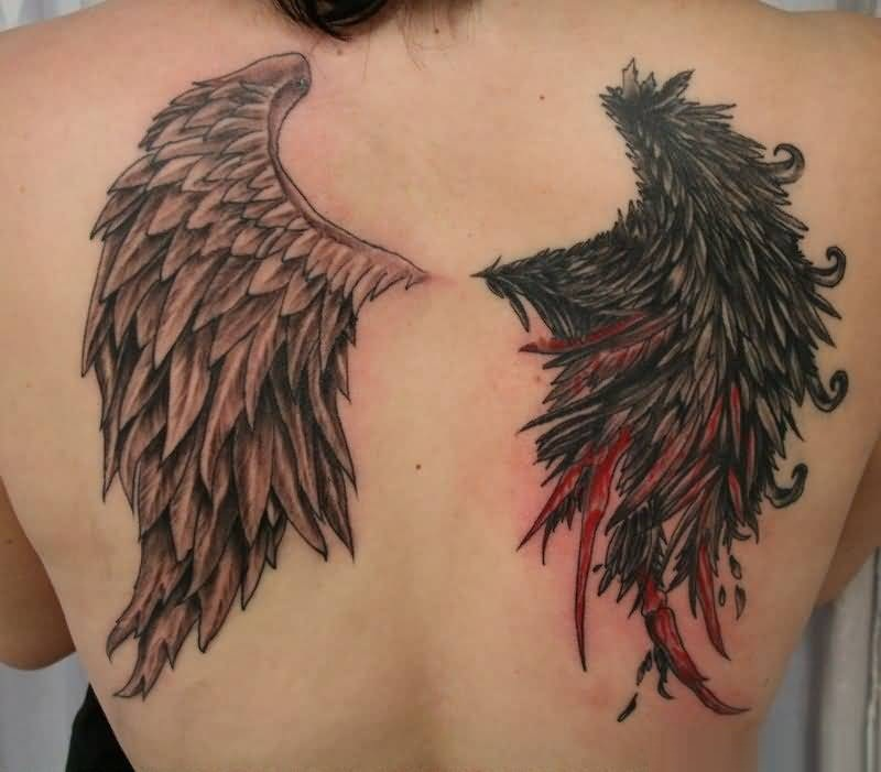 beautiful black red and light color ink Angel Tattoos on girl 's back side made by expert