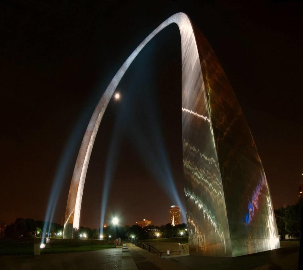 Beautiful Closeup View Of Base Of The Gateway Arch At Night Photo