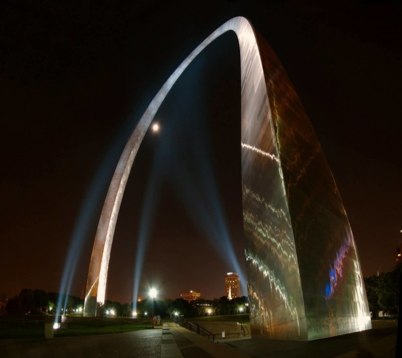 Beautiful Closeup View Of Base Of The Gateway Arch At Night Photo