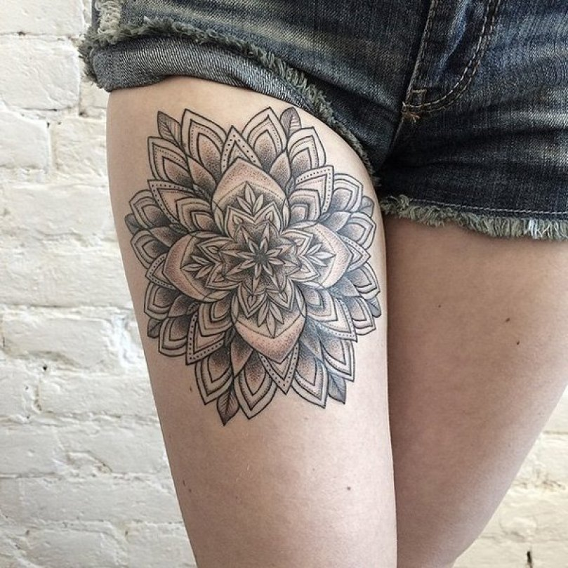 Beautiful Pattern Tattoo On Thigh With Black Ink For Man & Woman Geometric Tattoo