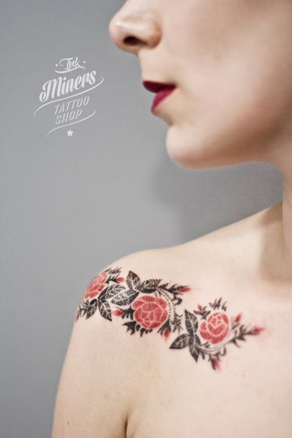 Beautiful Rose Tattoo On Clavicle For Women With Colourful Ink