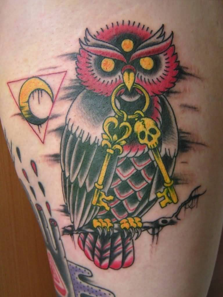 beautiful yellow red and black color ink animated owl tattoo on girl's sleeve for girls only made by expert