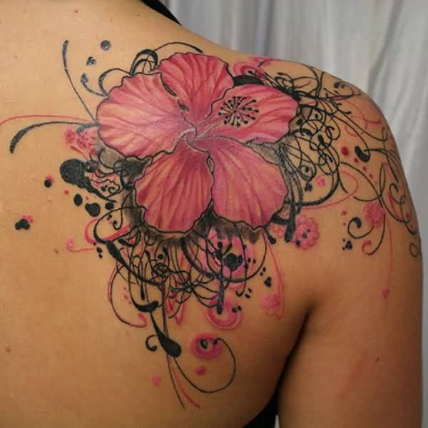 best Hibiscus tattoo on back With colourful ink For Man And Woman