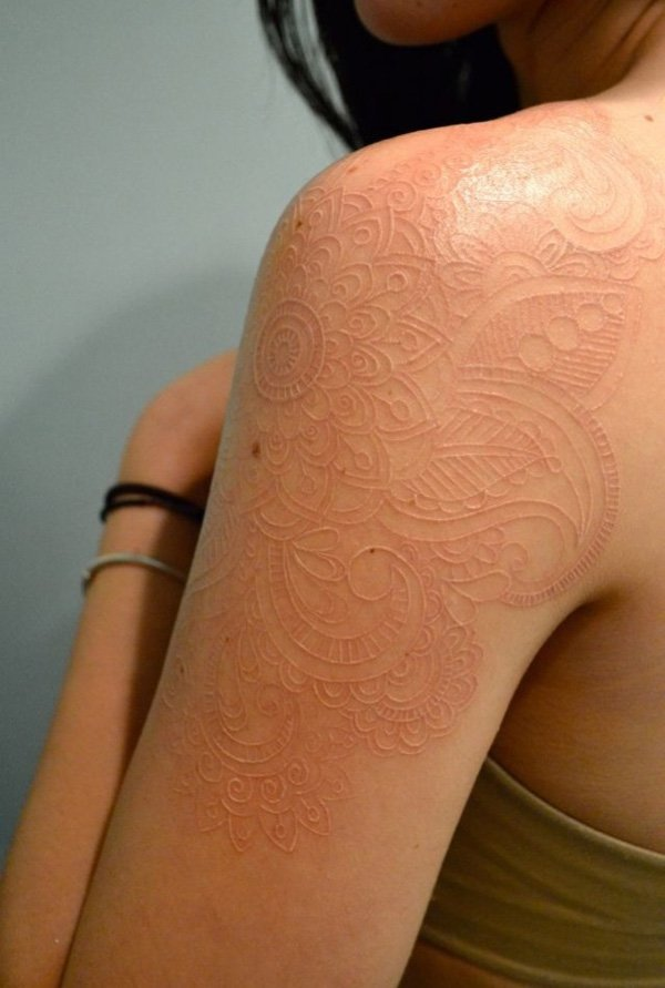 best White ink tattoo on shoulder With white ink For Man And Woman