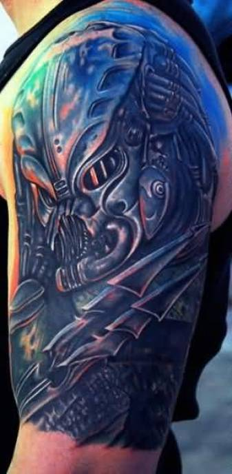 charming blue color ink Tattoo Of Alien Predator For Men made by expert