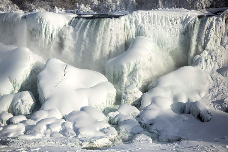 Coolest Partially Frozen Niagara Falls With Beautiful White Snow