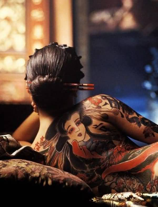 Cool Japanese Tattoos For Women On Back On Back With Colourful Ink For Women