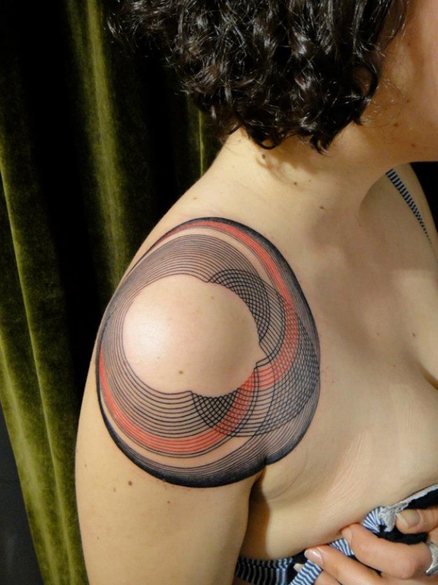 Cool Pattern Tattoo On Shoulder With Colorful Ink For Man Woman