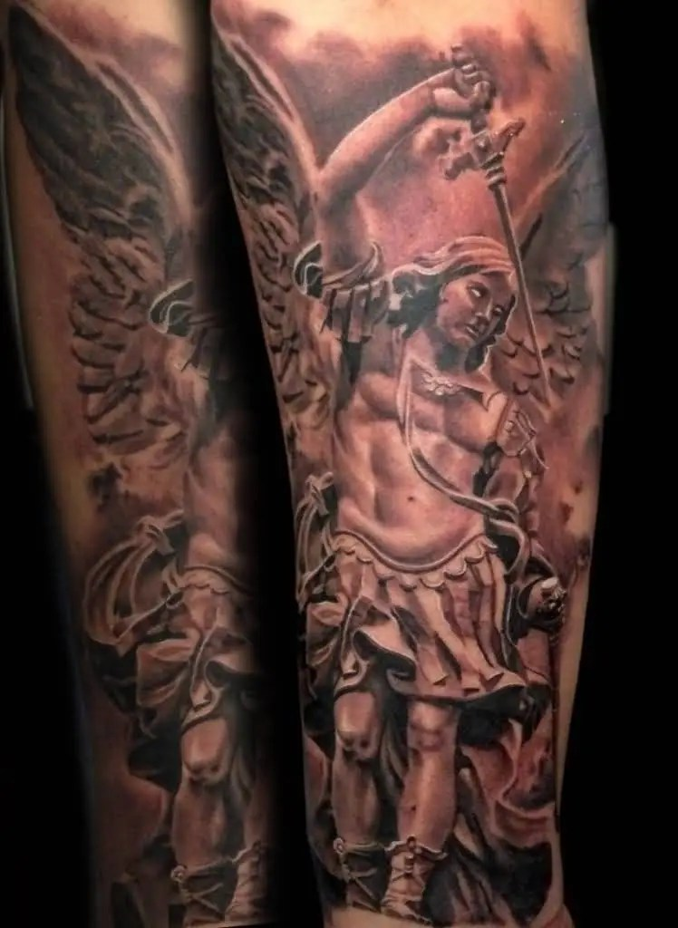 cool red and black color ink angel warrior tattoo on boy's full sleeve for boys only made by expert artist