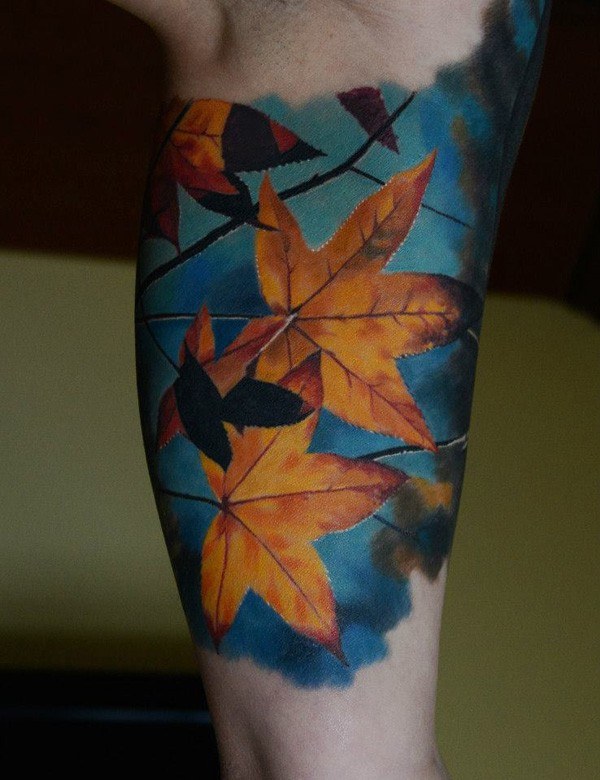Coolest Colorful Leaf Tattoo With Colorful Ink For Man Woman