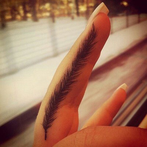 Coolest Feather Finger Tattoo With Black Ink For Man And Woman