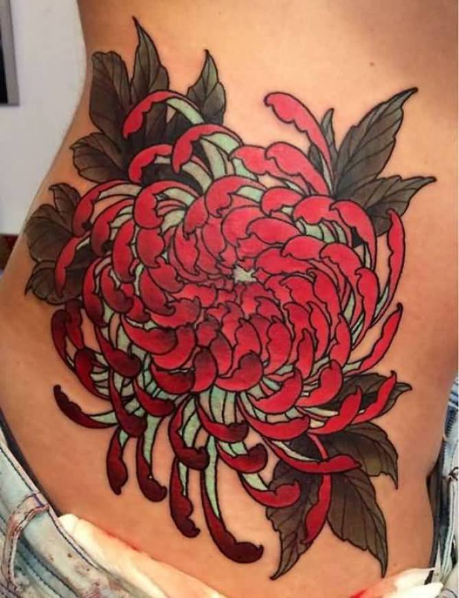 coolest chrysanthemum side tattoo on side with colourful ink for man & woman
