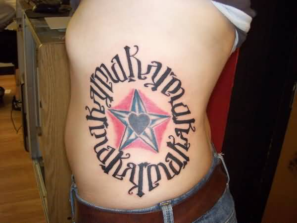coolest gray and red color ink side cover up with ambigram tattoo for boys