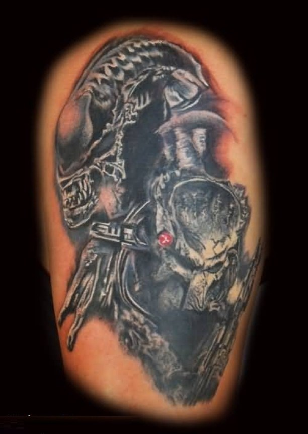 Coolest Gray Color Ink Alien Head Tattoo Photo For Man