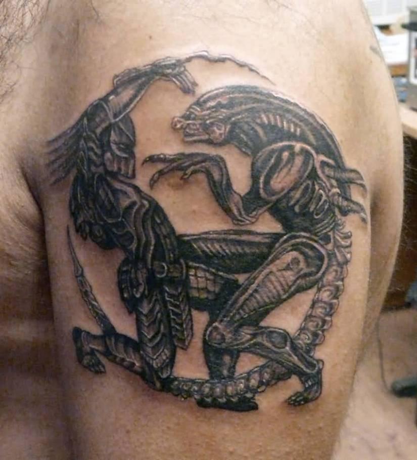 crazy gray color ink Predator Fight Tattoo made for boys
