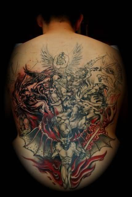 creativer red and gray color ink angel warrior tattoo on boy's full back for boys only made by expert